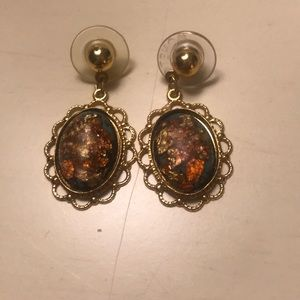 Fire opal and real gold earrings